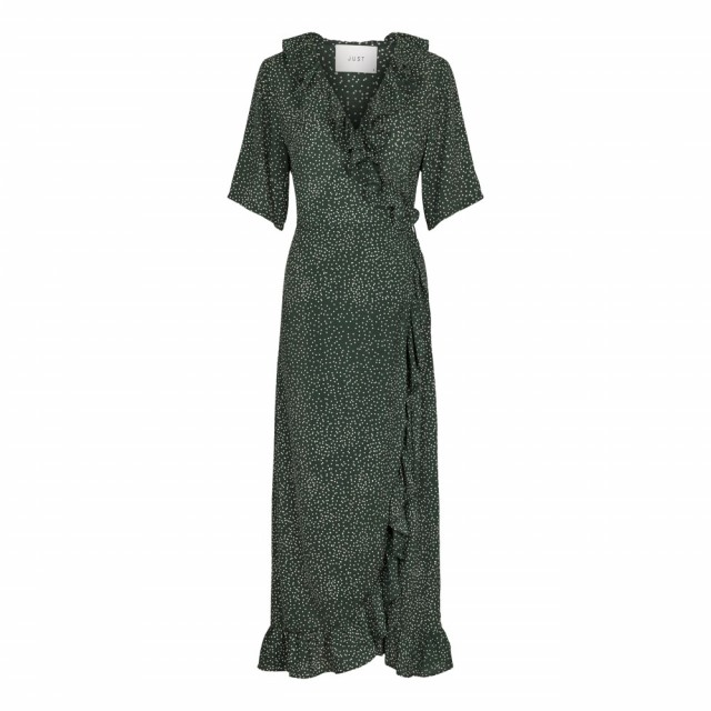 Just Female - Image Maxi Wrap Dress - Green Dot