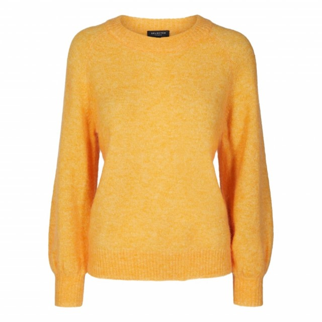 Selected Femme - Slfkaila Ls Knit Wide O-neck Radiant Yellow