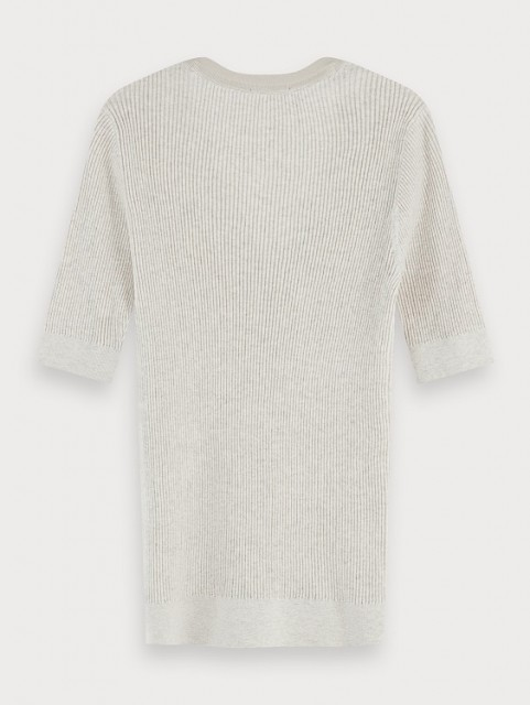 Maison Scotch - Short Sleeve Knitted Grandad In Rib - Light Grey
