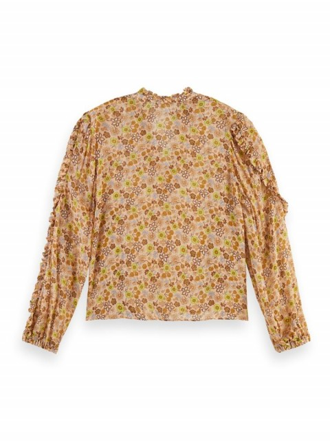 Maison Scotch - Mixed Print Top In Crinkled Quality