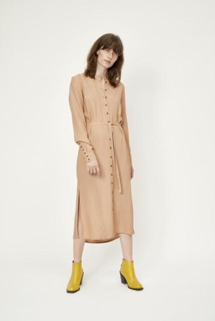 JUST - Tienna Shirt Dress  - Latte