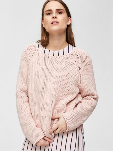Selected Femme - Slfolga Ls Knit Wide O-neck - Sepia Rose