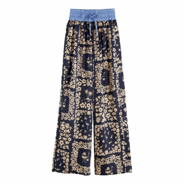 Maison Scotch -  Wide Leg Pants With Contrast Waistband - Blå