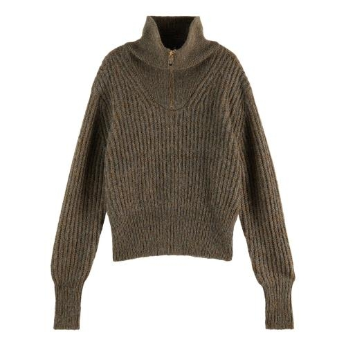 Maison Scotch  - Anorak Knit With Special Metallic Yarn - Military Green Mel.