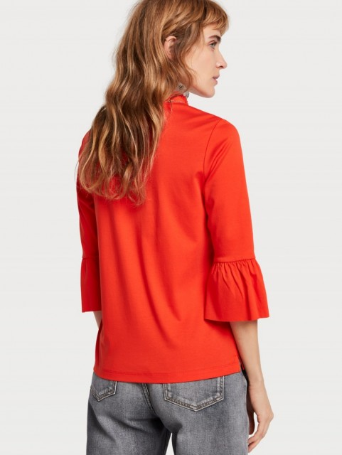 Maison Scotch - Clean Tee With Special Collar And Sleeve - Rød