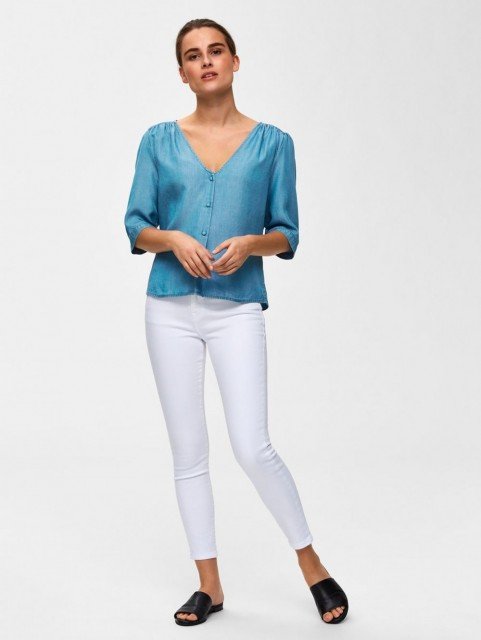 Selected Femme - Slfnoma 2/4 Top - Light Blue Denim