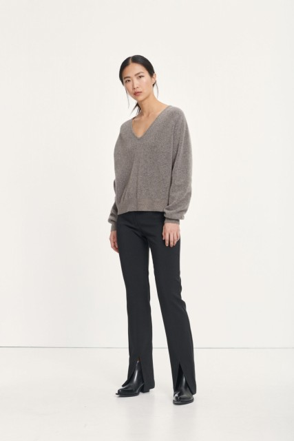 Samsøe Samsøe - Frances V-neck - Warm Grey Mel.