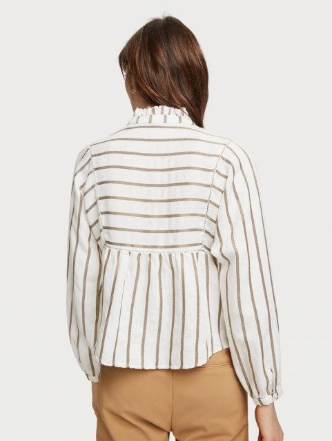 Maison Scotch - Metallic Striped Tunic With Ladder Tapes - Off-White