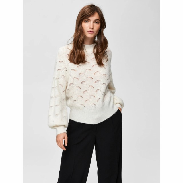 Selected Femme - Slfiva Ls Knit O-neck B - Snow White