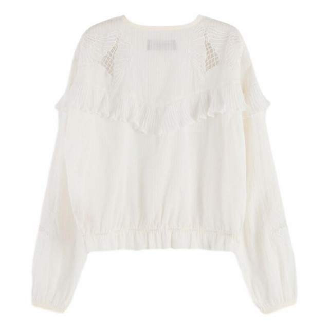 Maison Scotch - Loose Shirt With Lace And Sport Detailing - Cream