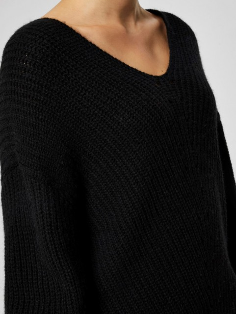 Selected Femme - Slfrose Ls Knit V-Neck - Sort