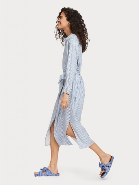Maison Scotch - Striped Shirt Dress With Belt In Lyocell Quality