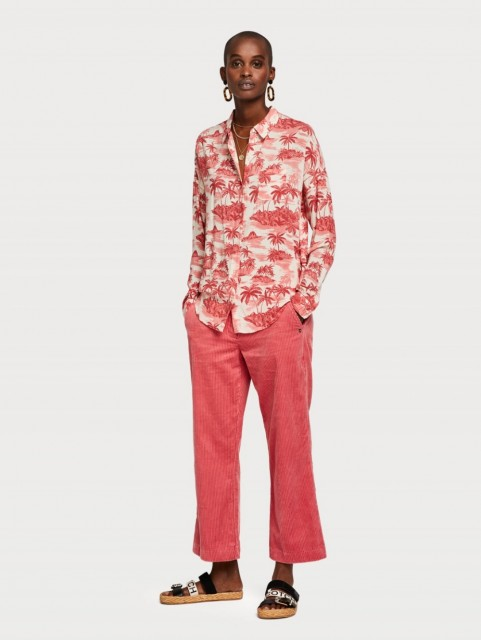Maison Scotch - Oversized Boxy Fit Cotton Viscose Shirt - Rød