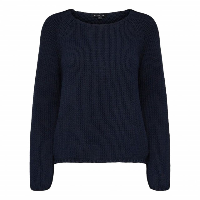 Selected Femme Marine Genser Slfolga Ls Knit Wide O-neck