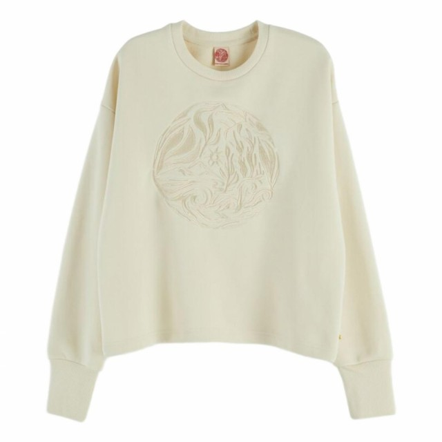 Maison Scotch - Cool Sweat With Embroidered Artworks On Chest - Cream