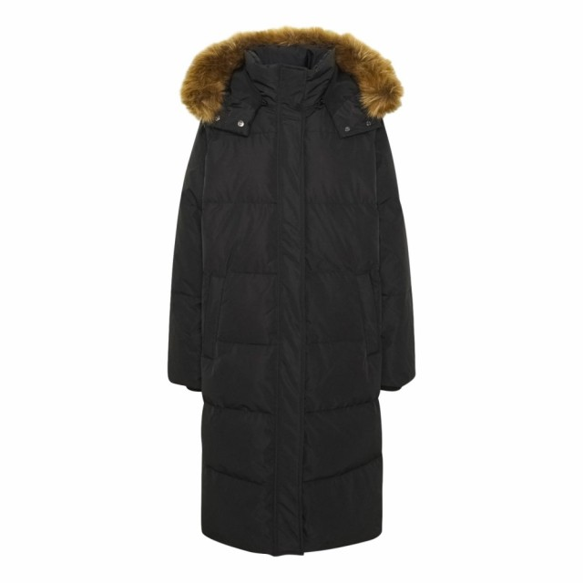 MSCH - Skylar Down Hood Fur Jacket - Sort