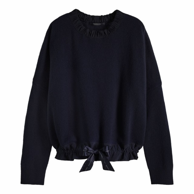 Maison Scotch - Super Soft Knit With Sporty Woven Detailing - Classic Navy