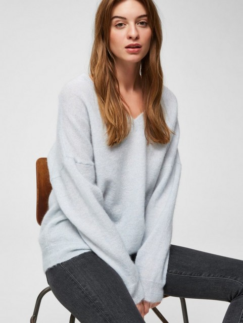 Selected Femme - Slflivana Ls Knit V-neck - Plein Air