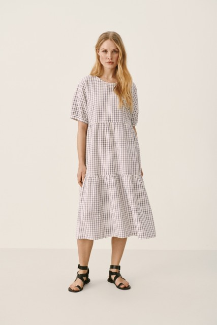 Part Two - Iane Dress - Gray Blue Check