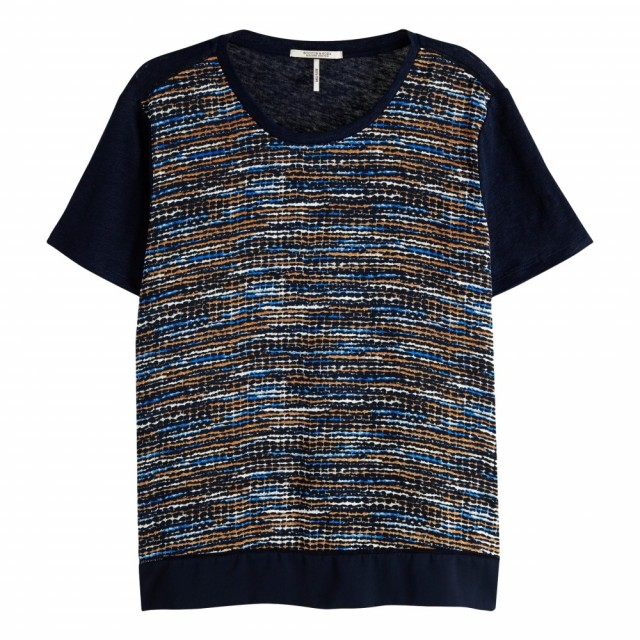 Maison Scotch - Mixed Print Tee With Wowen Frontpanel
