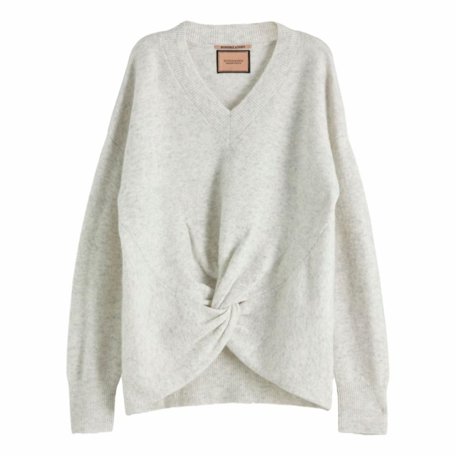 Maison Scotch - Crewneck Knit With Knot Detail At Hem - Light Grey Mel.